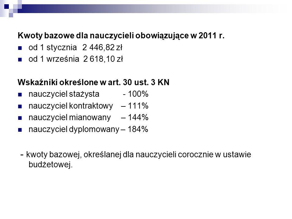 Kwoty bazowe dla nauczycieli obowiązujące w 2011 r.