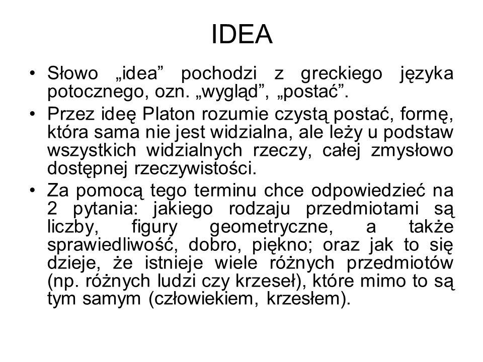 """IDEA Słowo """"idea pochodzi z greckiego języka potocznego, ozn. """"wygląd , """"postać ."""