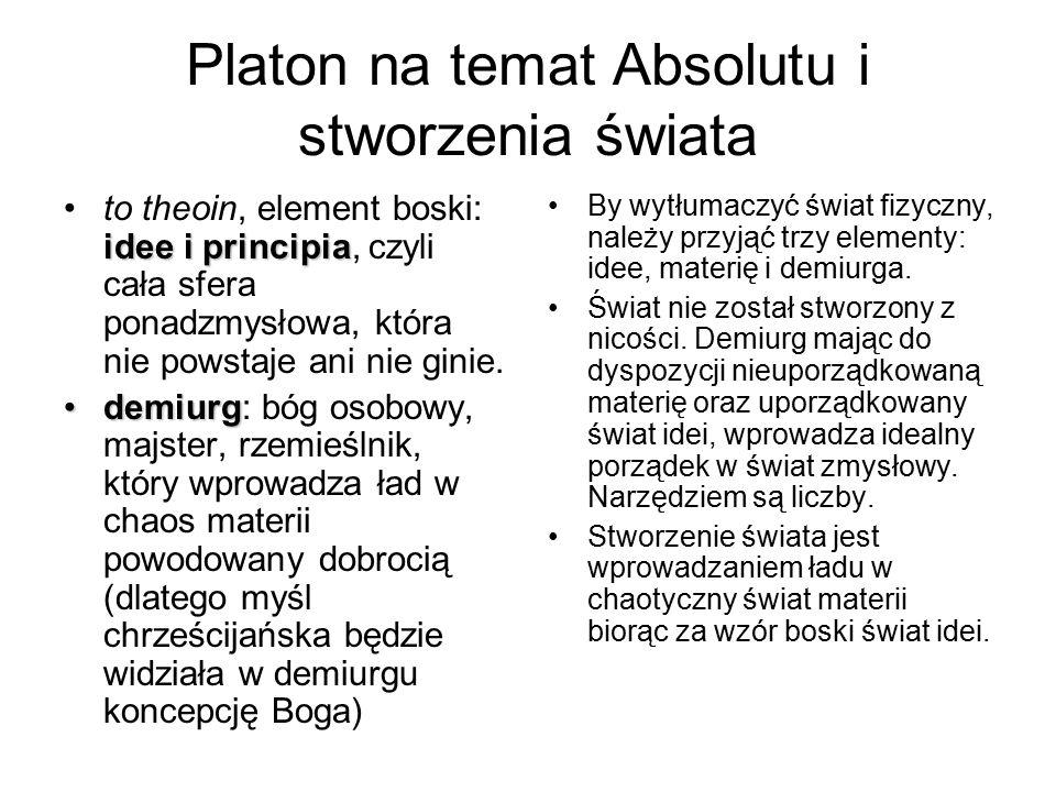 Platon na temat Absolutu i stworzenia świata