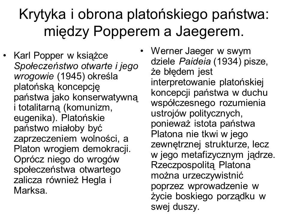 Krytyka i obrona platońskiego państwa: między Popperem a Jaegerem.