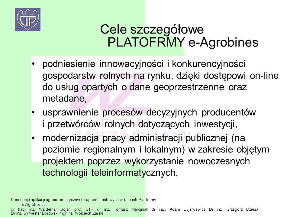 Cele szczegółowe PLATOFRMY e-Agrobines