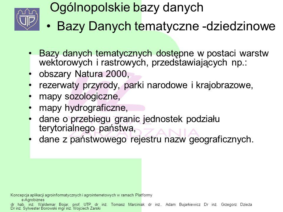 Ogólnopolskie bazy danych Bazy Danych tematyczne -dziedzinowe