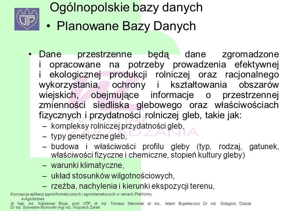 Ogólnopolskie bazy danych Planowane Bazy Danych