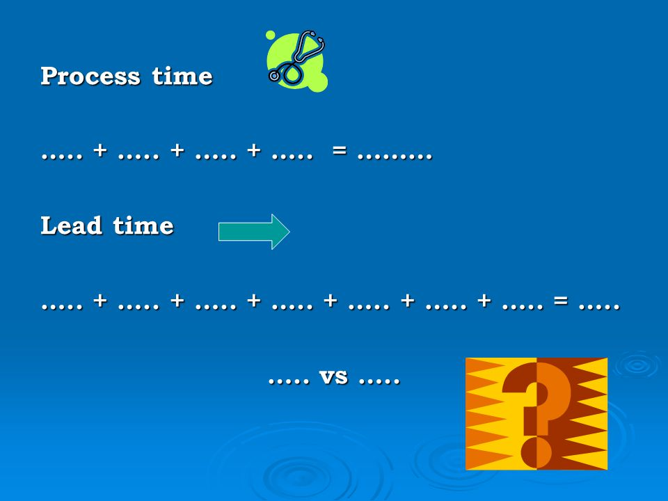 Process time ….. + ….. + ….. + ….. = ……… Lead time. ….. + ….. + ….. + ….. + ….. + ….. + ….. = …..