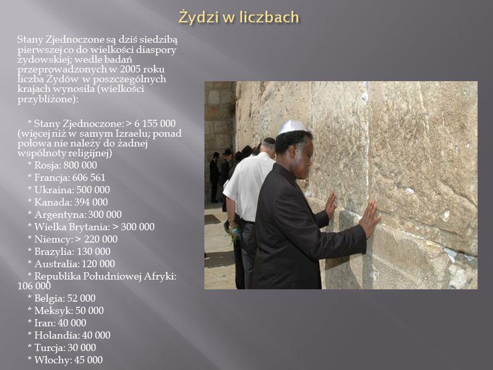 Stany Zjednoczone są dziś siedzibą pierwszej co do wielkości diaspory żydowskiej; wedle badań przeprowadzonych w 2005 roku liczba Żydów w poszczególnych krajach wynosiła (wielkości przybliżone):