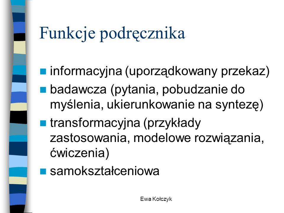 Funkcje podręcznika informacyjna (uporządkowany przekaz)
