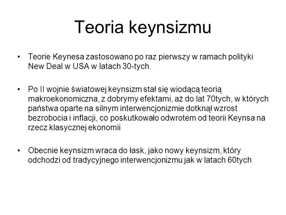 Teoria keynsizmu Teorie Keynesa zastosowano po raz pierwszy w ramach polityki New Deal w USA w latach 30-tych.