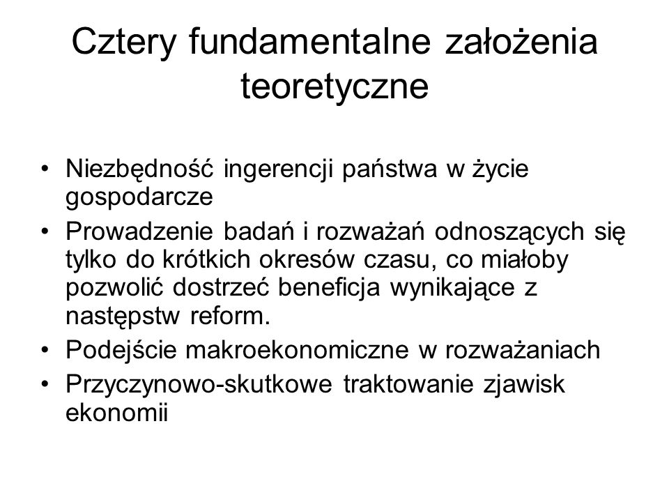 Cztery fundamentalne założenia teoretyczne