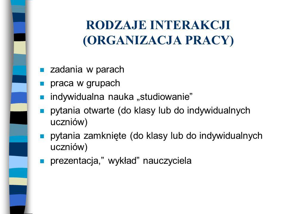 RODZAJE INTERAKCJI (ORGANIZACJA PRACY)