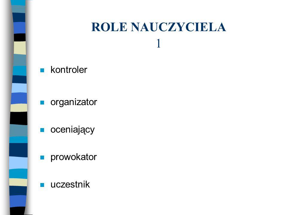 ROLE NAUCZYCIELA 1 kontroler organizator oceniający prowokator