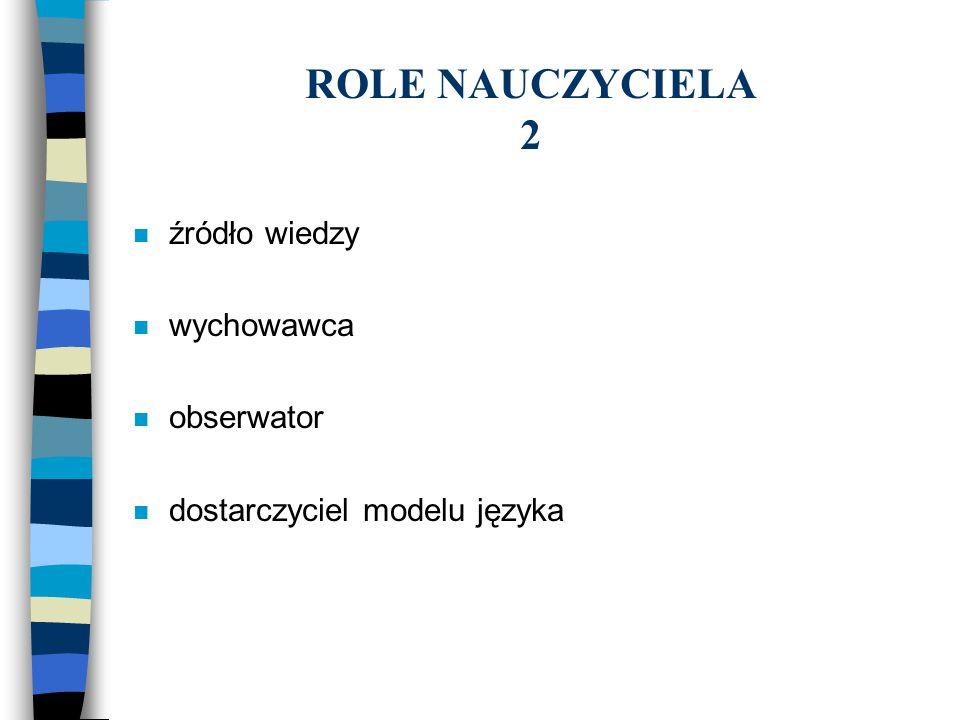 ROLE NAUCZYCIELA 2 źródło wiedzy wychowawca obserwator