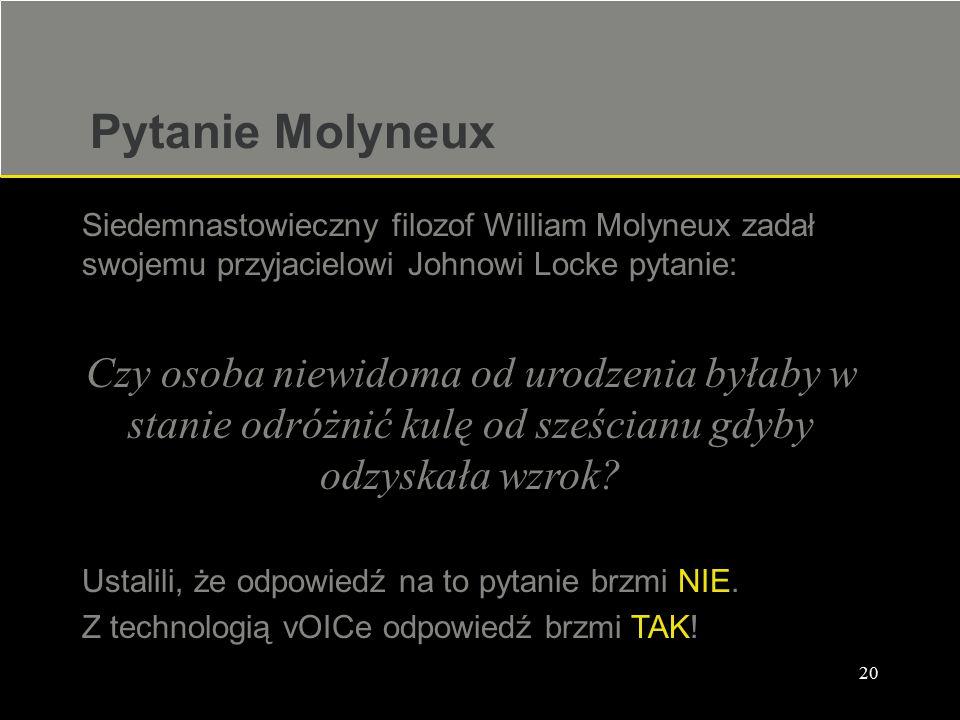 Pytanie Molyneux Siedemnastowieczny filozof William Molyneux zadał swojemu przyjacielowi Johnowi Locke pytanie: