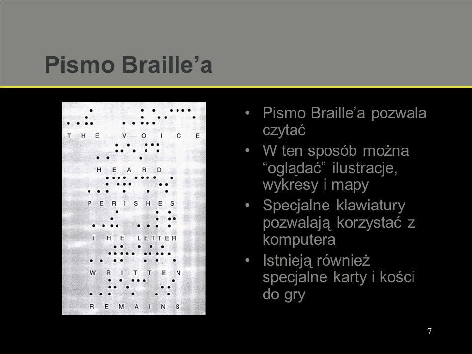Pismo Braille'a Pismo Braille'a pozwala czytać