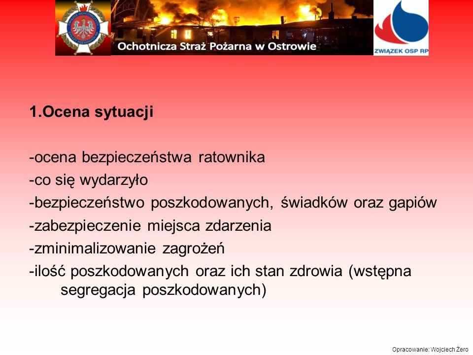 1.Ocena sytuacji -ocena bezpieczeństwa ratownika -co się wydarzyło -bezpieczeństwo poszkodowanych, świadków oraz gapiów -zabezpieczenie miejsca zdarzenia -zminimalizowanie zagrożeń -ilość poszkodowanych oraz ich stan zdrowia (wstępna segregacja poszkodowanych)