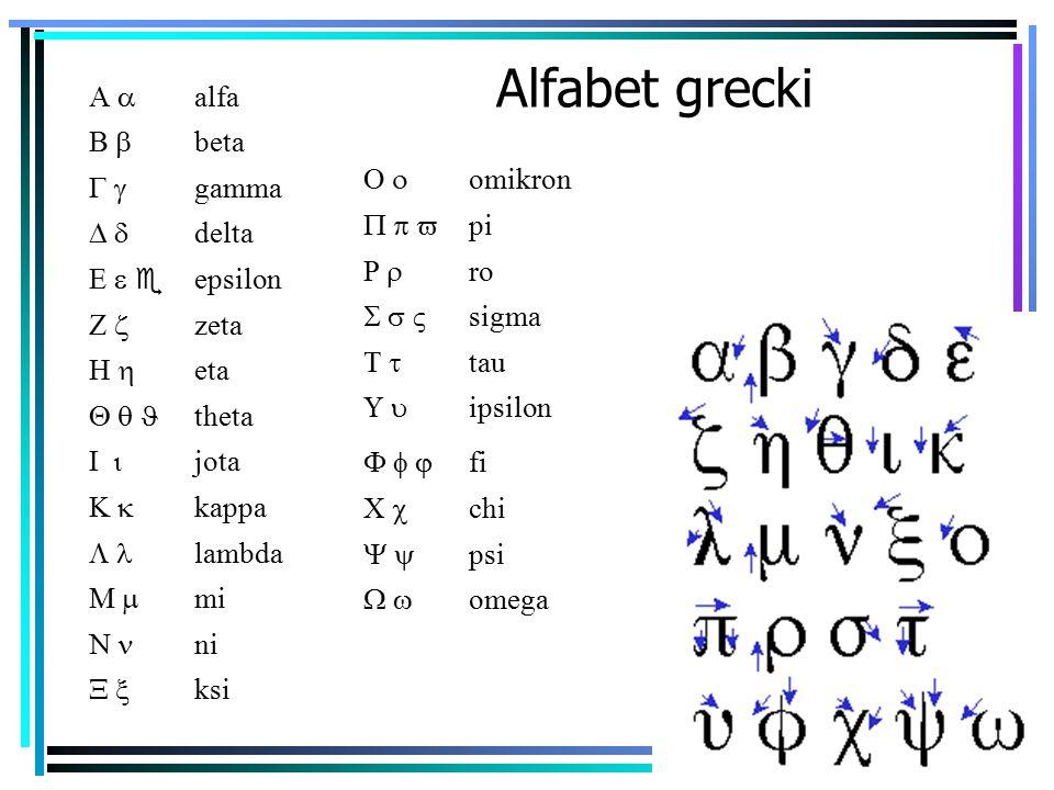 Alfabet grecki A a alfa B b beta G g gamma D d delta E e e epsilon