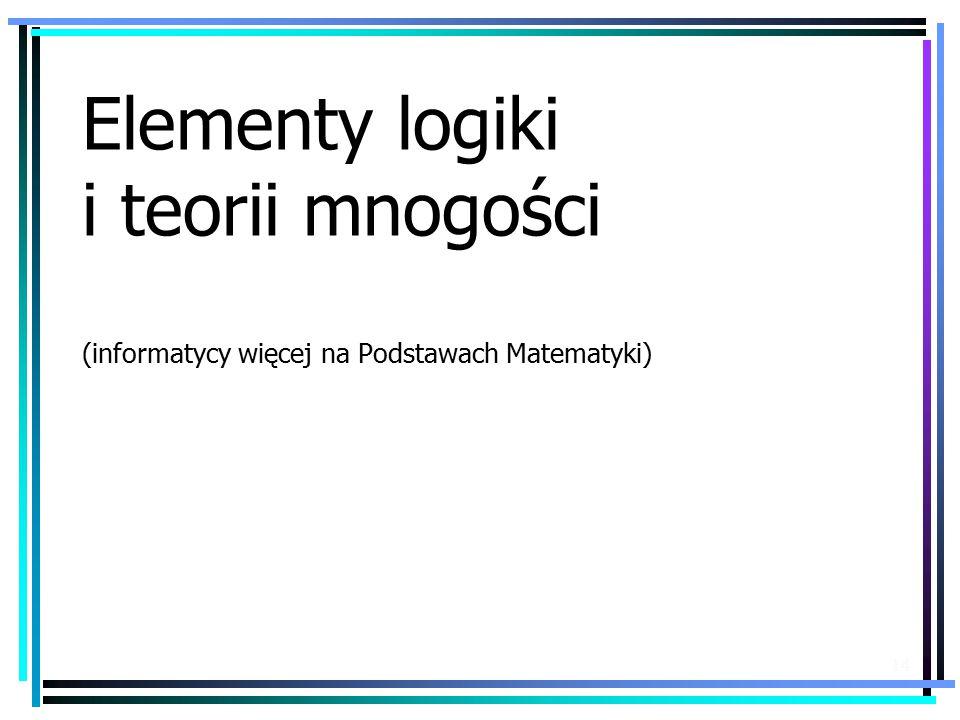 Elementy logiki i teorii mnogości (informatycy więcej na Podstawach Matematyki)