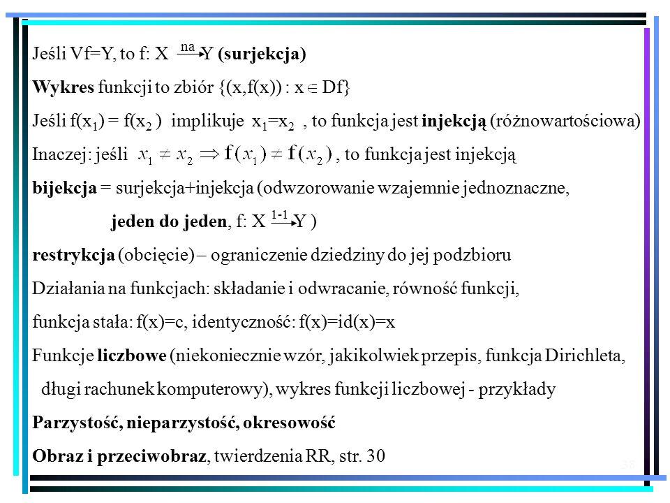 Jeśli Vf=Y, to f: X Y (surjekcja)