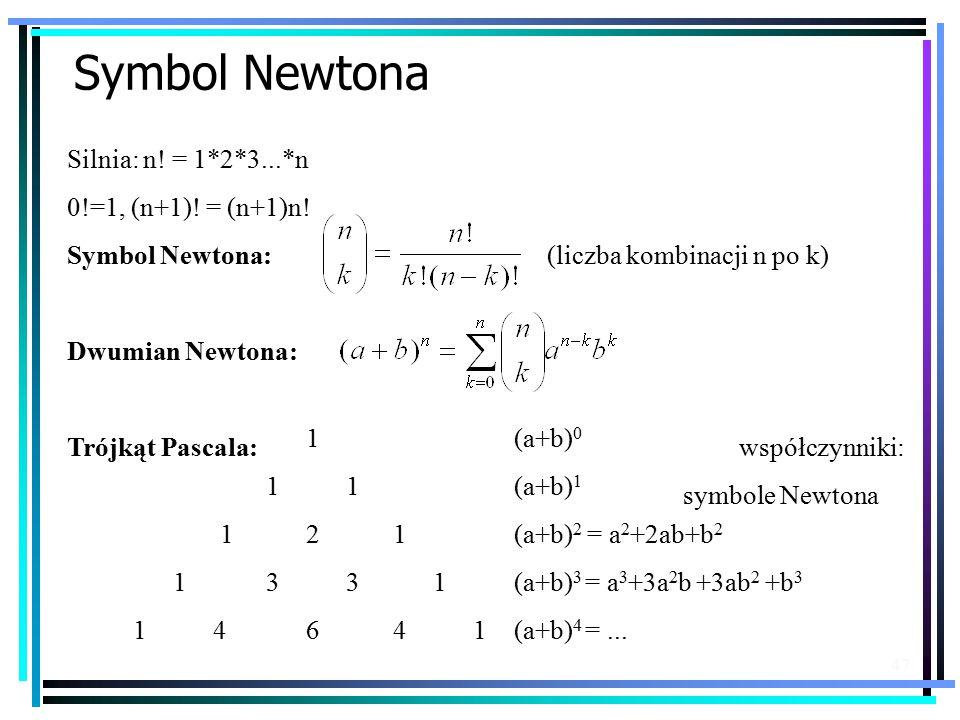 Symbol Newtona Silnia: n! = 1*2*3...*n 0!=1, (n+1)! = (n+1)n!