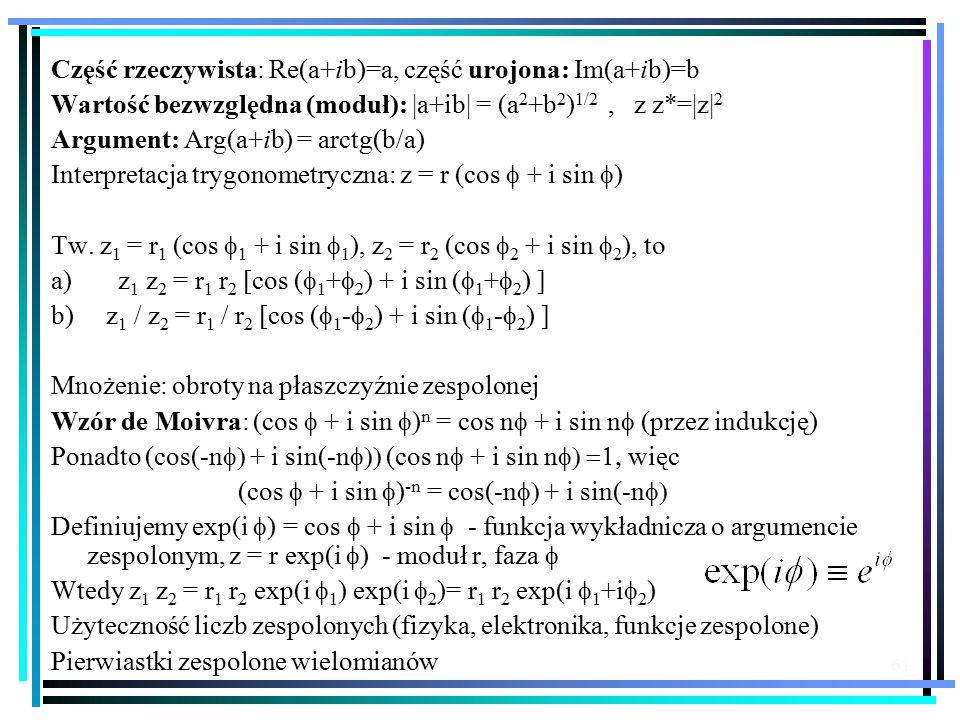 Część rzeczywista: Re(a+ib)=a, część urojona: Im(a+ib)=b