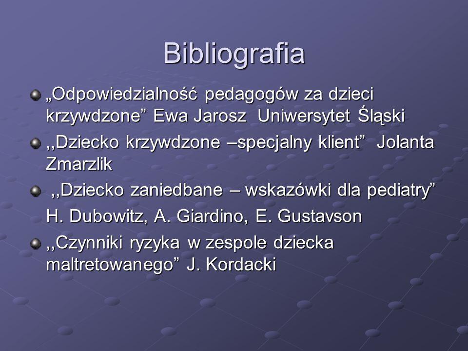 """Bibliografia """"Odpowiedzialność pedagogów za dzieci krzywdzone Ewa Jarosz Uniwersytet Śląski."""