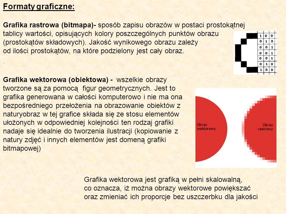Formaty graficzne: Grafika rastrowa (bitmapa)- sposób zapisu obrazów w postaci prostokątnej.