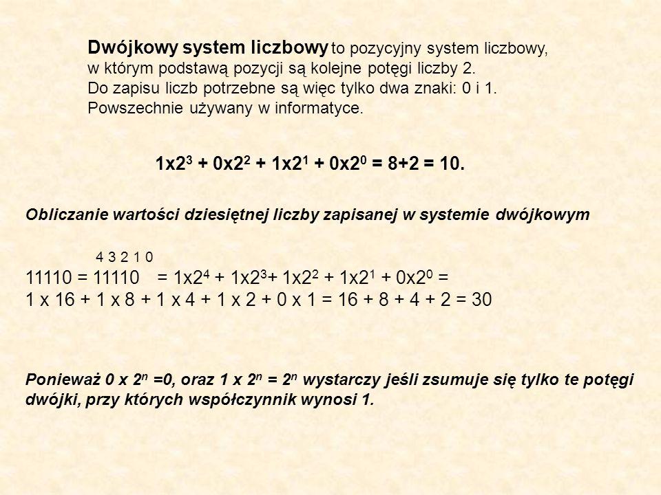 Dwójkowy system liczbowy to pozycyjny system liczbowy,