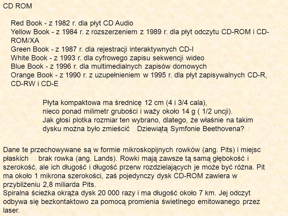 CD ROM Red Book - z 1982 r. dla płyt CD Audio. Yellow Book - z 1984 r. z rozszerzeniem z 1989 r. dla płyt odczytu CD-ROM i CD-ROM/XA.