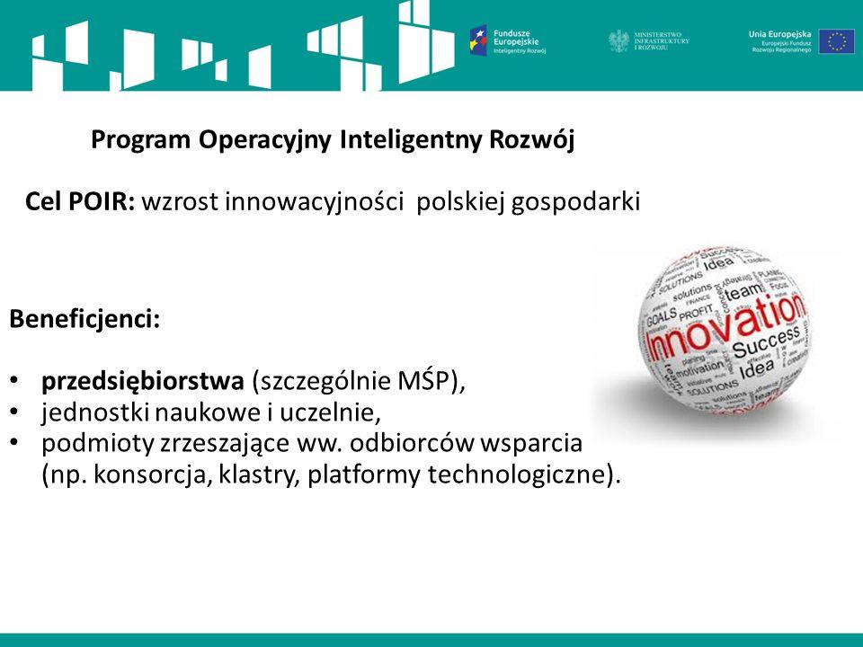 Program Operacyjny Inteligentny Rozwój Cel POIR: wzrost innowacyjności polskiej gospodarki