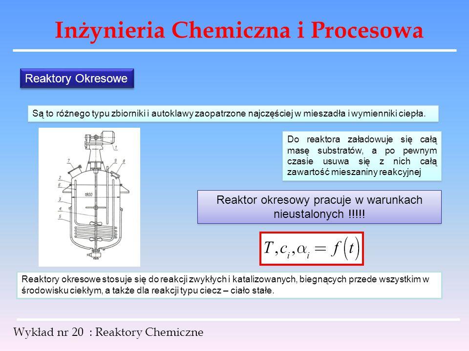 Reaktor okresowy pracuje w warunkach nieustalonych !!!!!