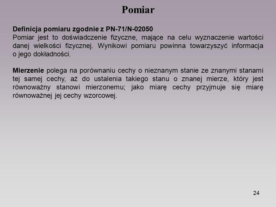 Pomiar Definicja pomiaru zgodnie z PN-71/N-02050