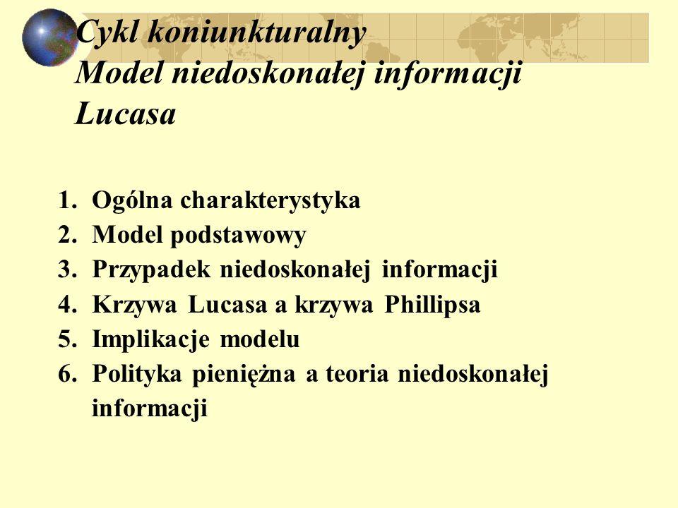Cykl koniunkturalny Model niedoskonałej informacji Lucasa