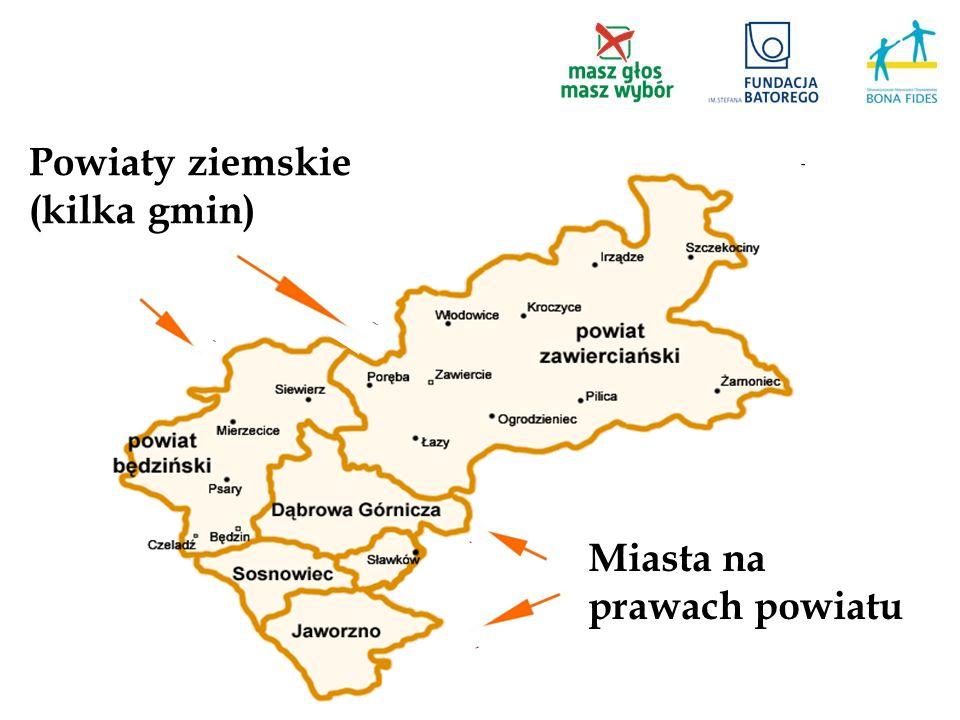Powiaty ziemskie (kilka gmin) Miasta na prawach powiatu