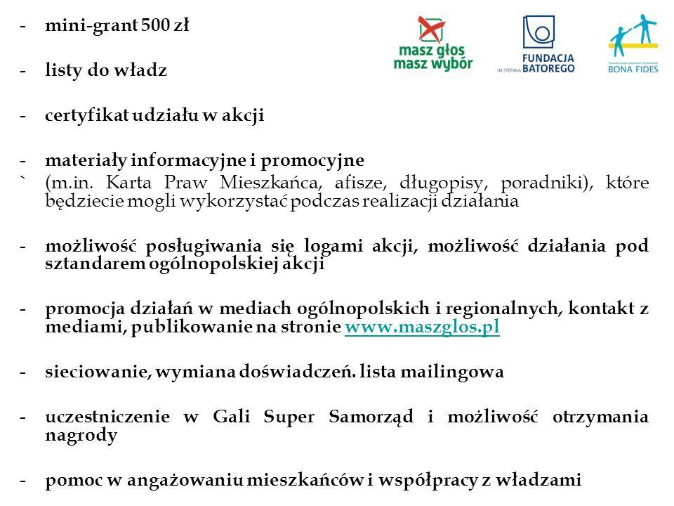 mini-grant 500 zł listy do władz. certyfikat udziału w akcji. materiały informacyjne i promocyjne.