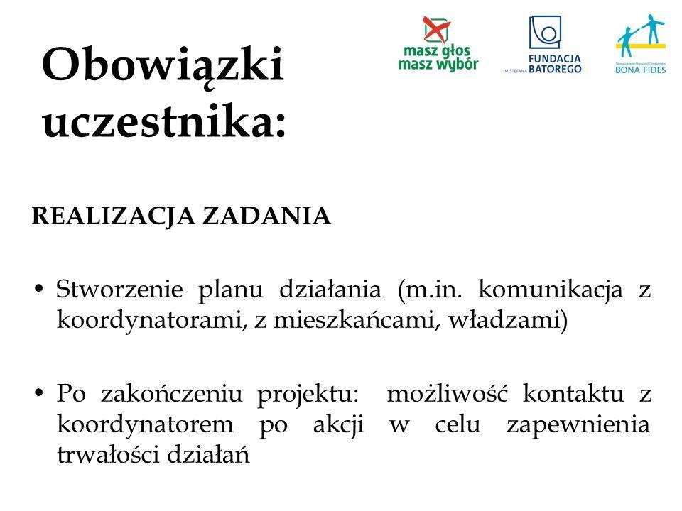 Obowiązki uczestnika: