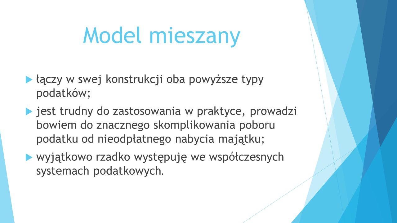 Model mieszany łączy w swej konstrukcji oba powyższe typy podatków;