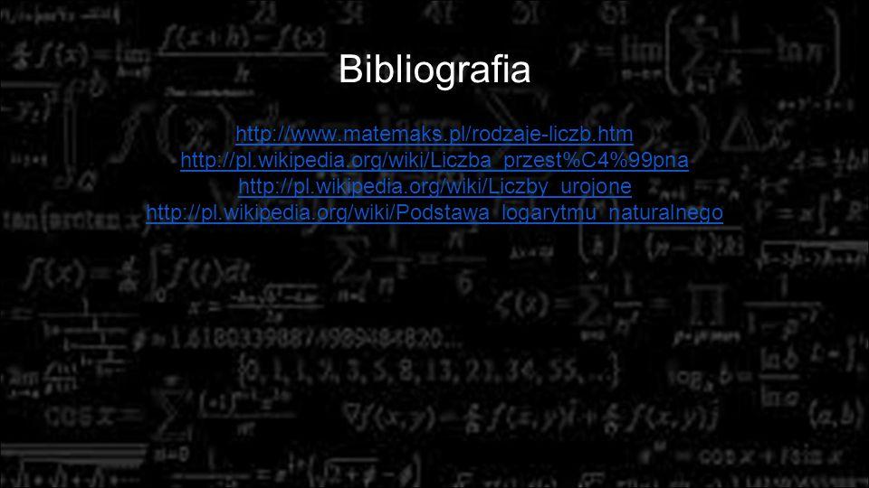 Bibliografia http://www.matemaks.pl/rodzaje-liczb.htm
