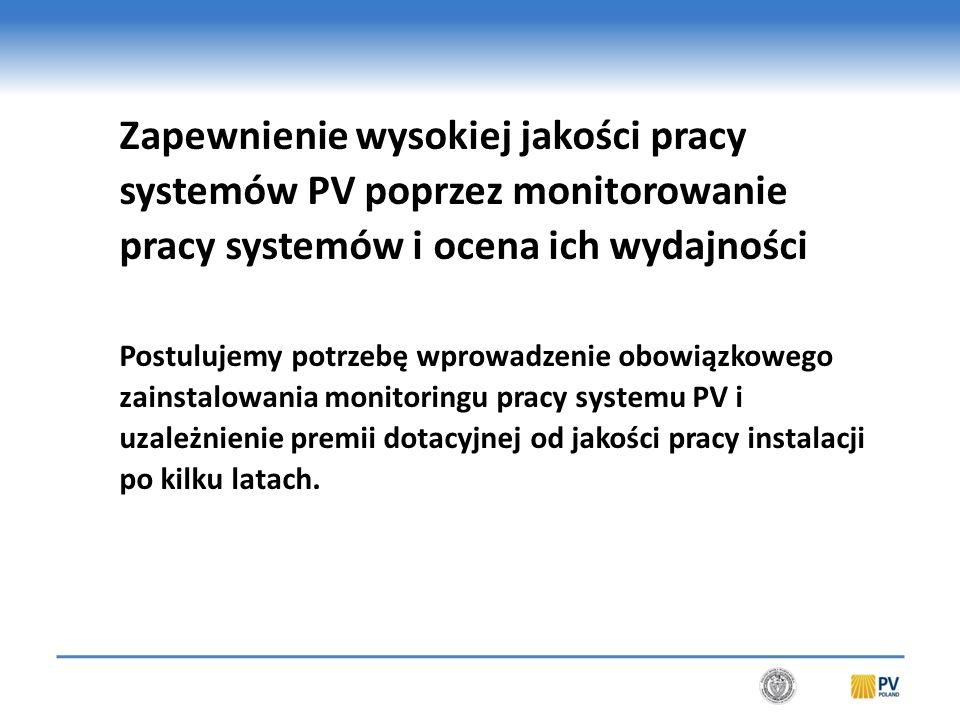 Monitoring jako obowiązkowy element realizowanych instalacji PV byłby gwarantem: