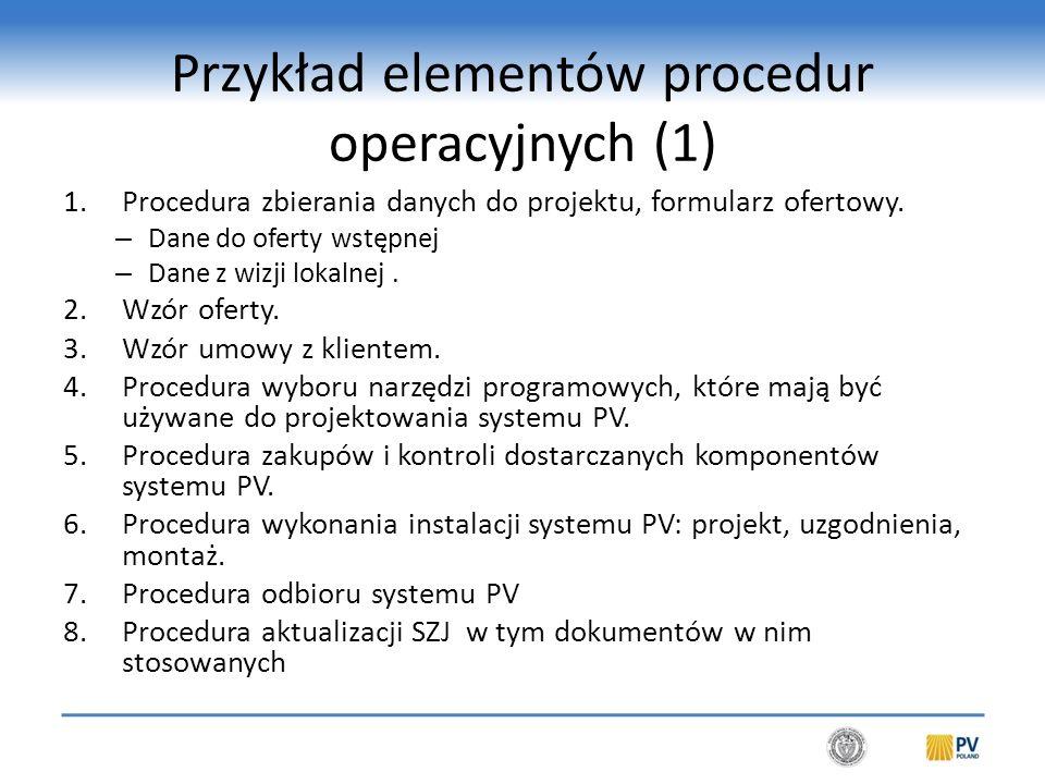Przykład elementów procedur operacyjnych (2)