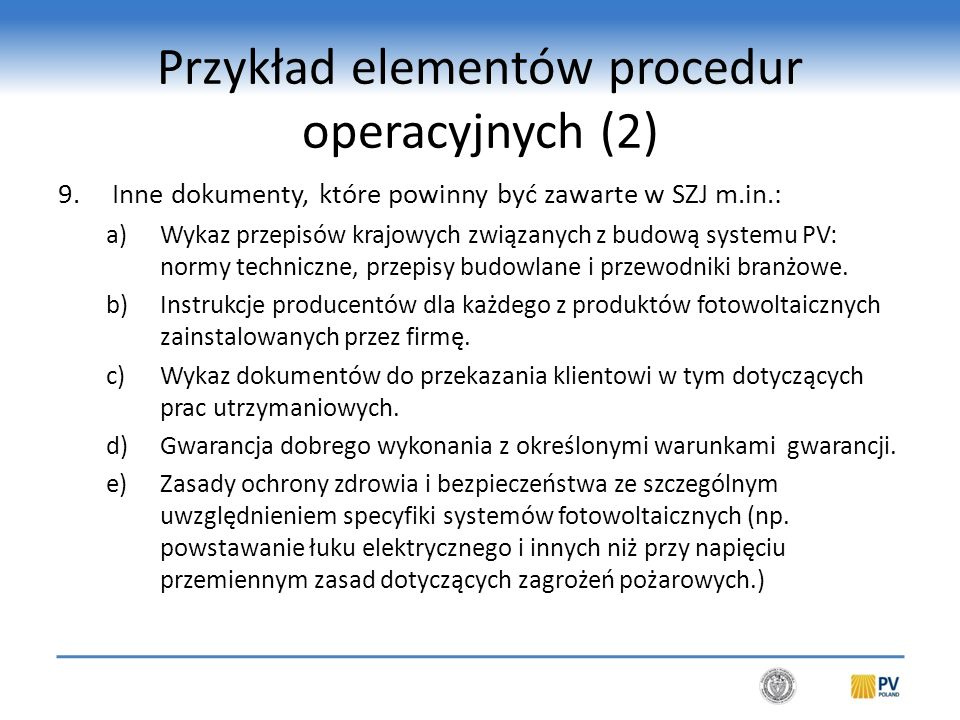 Przykład elementów procedur operacyjnych (3)
