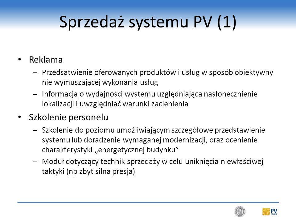 Sprzedaż systemu PV (2) Podstawowe zasady pracy sprzedawcy