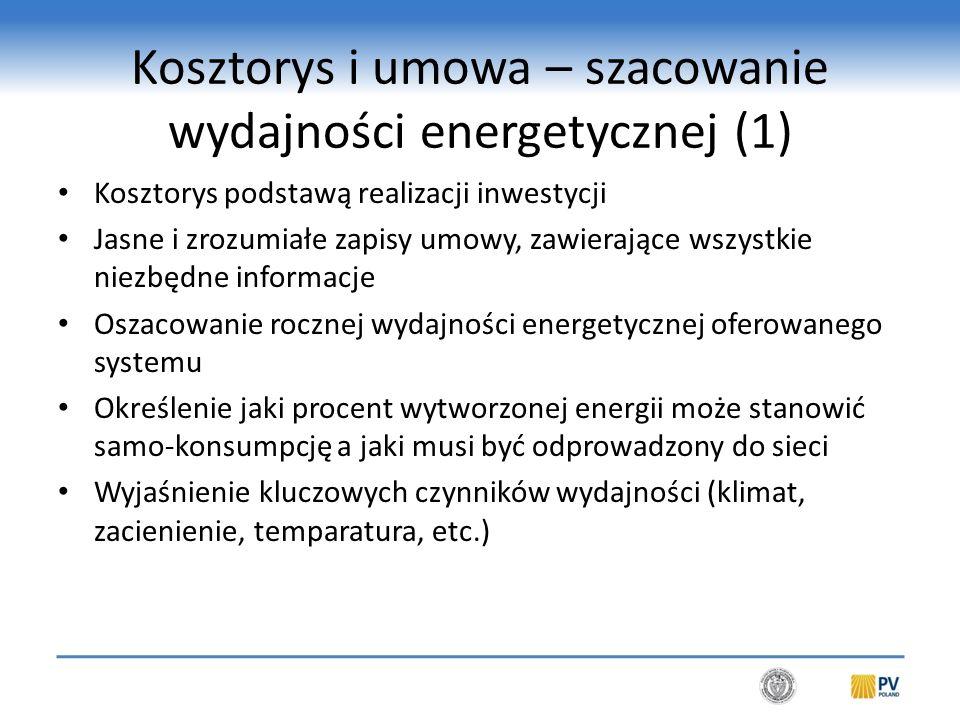 Kosztorys i umowa – szacowanie wydajności energetycznej (2)