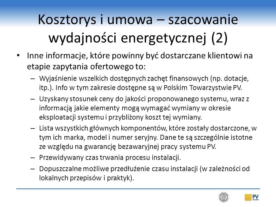 Kosztorys i umowa – szacowanie wydajności energetycznej (3)
