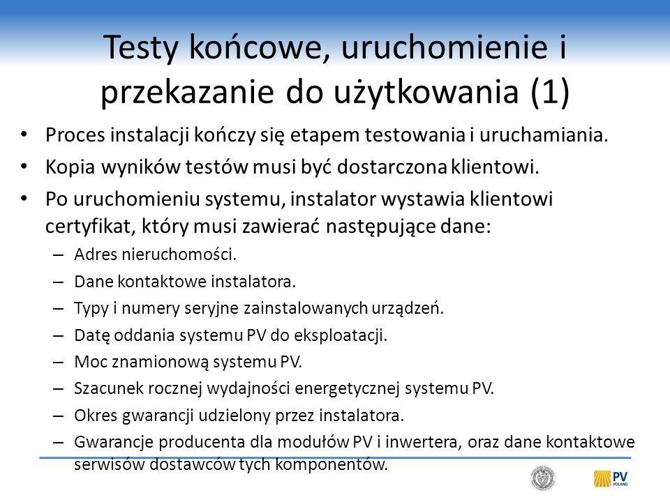 Testy końcowe, uruchomienie i przekazanie do użytkowania (2)