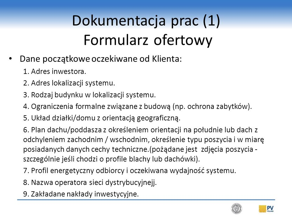 Dokumentacja prac (2) Formularz ofertowy