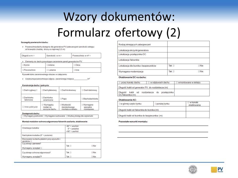 Wzory dokumentów: Oferta na wykonanie mikro/małego systemu fotowoltaicznego