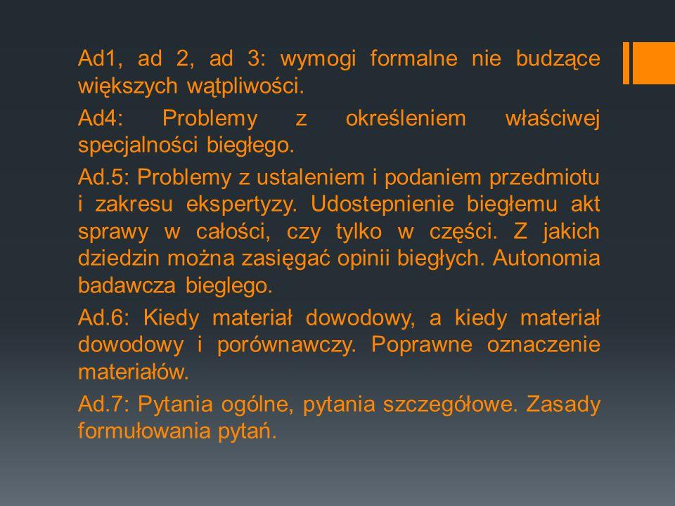 Ad1, ad 2, ad 3: wymogi formalne nie budzące większych wątpliwości
