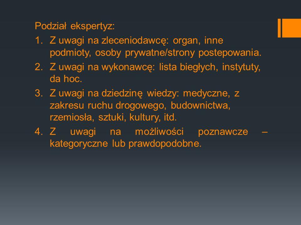 Podział ekspertyz: Z uwagi na zleceniodawcę: organ, inne podmioty, osoby prywatne/strony postepowania.