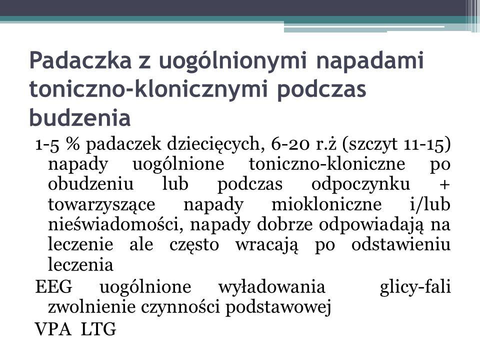 Padaczka z uogólnionymi napadami toniczno-klonicznymi podczas budzenia
