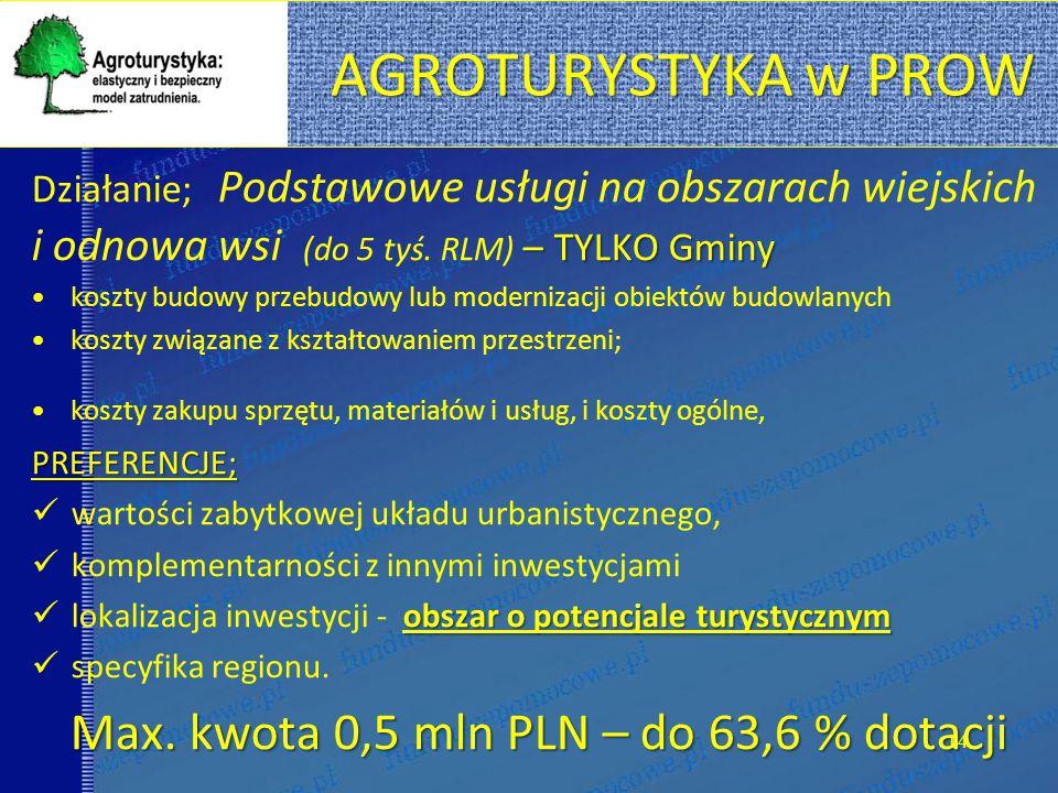 Max. kwota 0,5 mln PLN – do 63,6 % dotacji