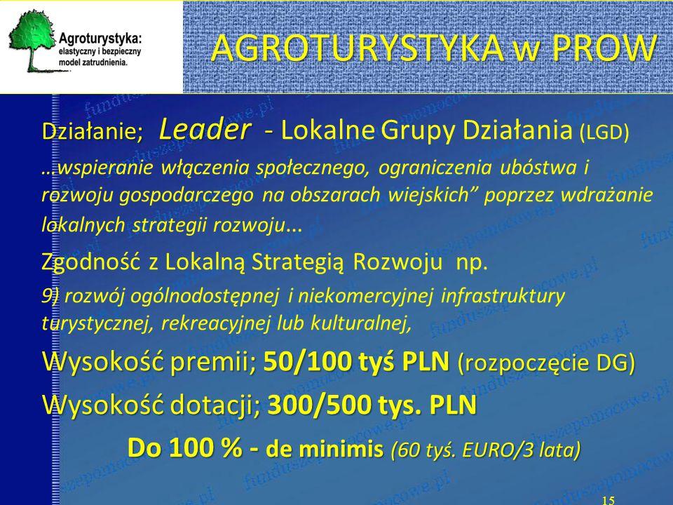 Do 100 % - de minimis (60 tyś. EURO/3 lata)